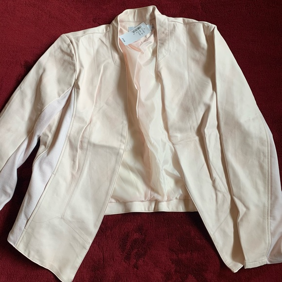 Light pink faux leather blazer
